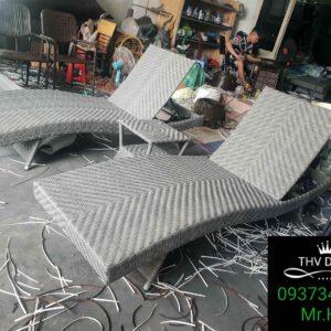 Giường tắm nắng nhựa giả mây cao cấp THV-210601